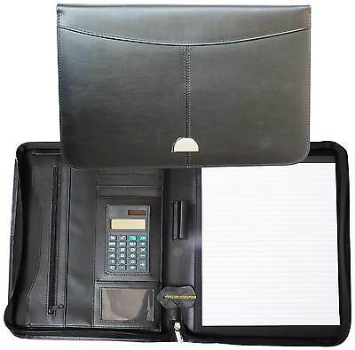 A4 Conference Folder Zipped Genuine Leather Portfolio Organiser With Calculator