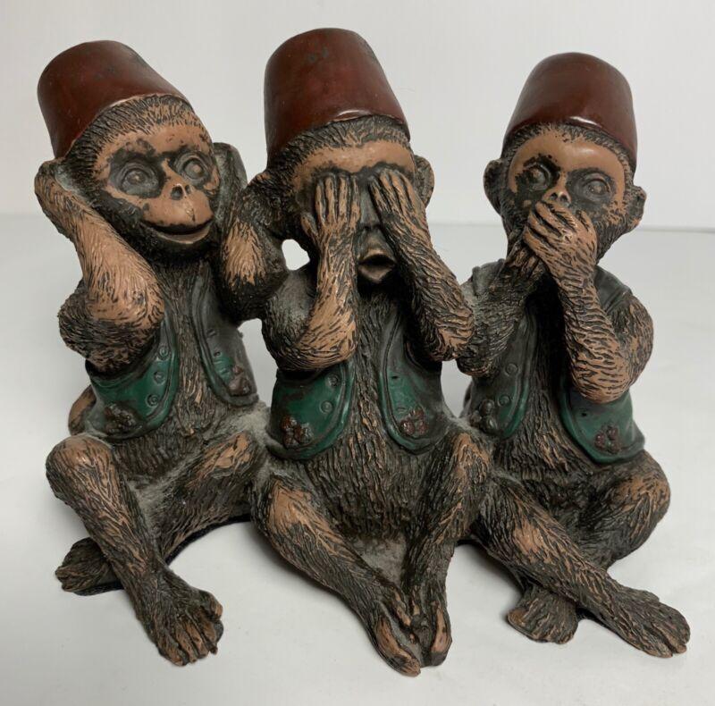 3 Monkeys In Fez Hat Figurine Hear No Evil See No Evil Speak No Evil HandPainted
