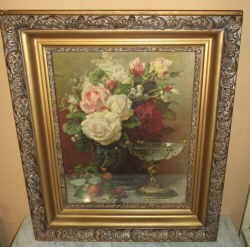 LARGE  Antique Victorian heavily Ornate Gesso Wood Picture Frame Gold Gilt
