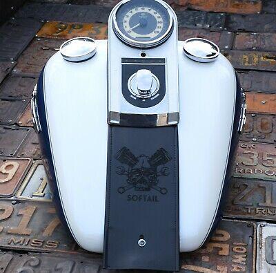 Harley Davidson Leather Fuel Gas Tank Panel Bib Crazy Skull Softail  Custom  Leather Tank Panel