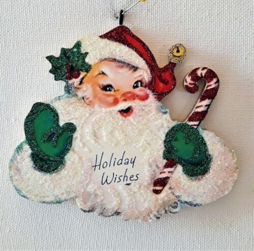 SANTA CLAUS w GREEN MITTENS, CANDY CANE  * Glitter CHRISTMAS ORNAMENT * Vtg Img