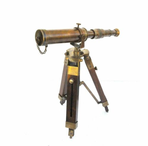 """10"""" Maritime Decorative Brass Antique Telescope With Wooden Tripod Collectible"""