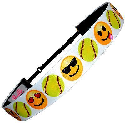 Non Slip Adjustable Headband Softball Emoticons