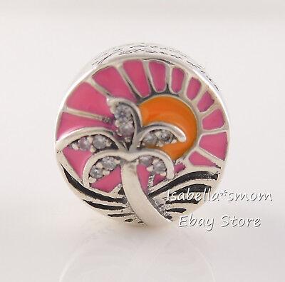 TROPICAL SUNSET Genuine PANDORA Pink ENAMEL Summer PALM TREE Charm - Pink Enamel Charm