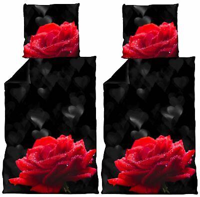 4 tlg Bettwäsche 135 x 200 cm Herzen Rosen schwarz rot Microfaser Wende Set - Schwarz Rot Bettwäsche Set