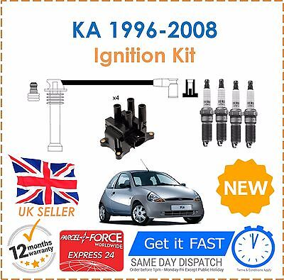 For Ford KA 1.3 1996-2008 Ignition Spark Plugs Coil Pack HT Leads Set New