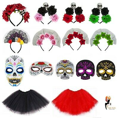 DAY OF THE DEAD Adult Kids Halloween FANCY DRESS ACCESSORIES Costume Mask Lot