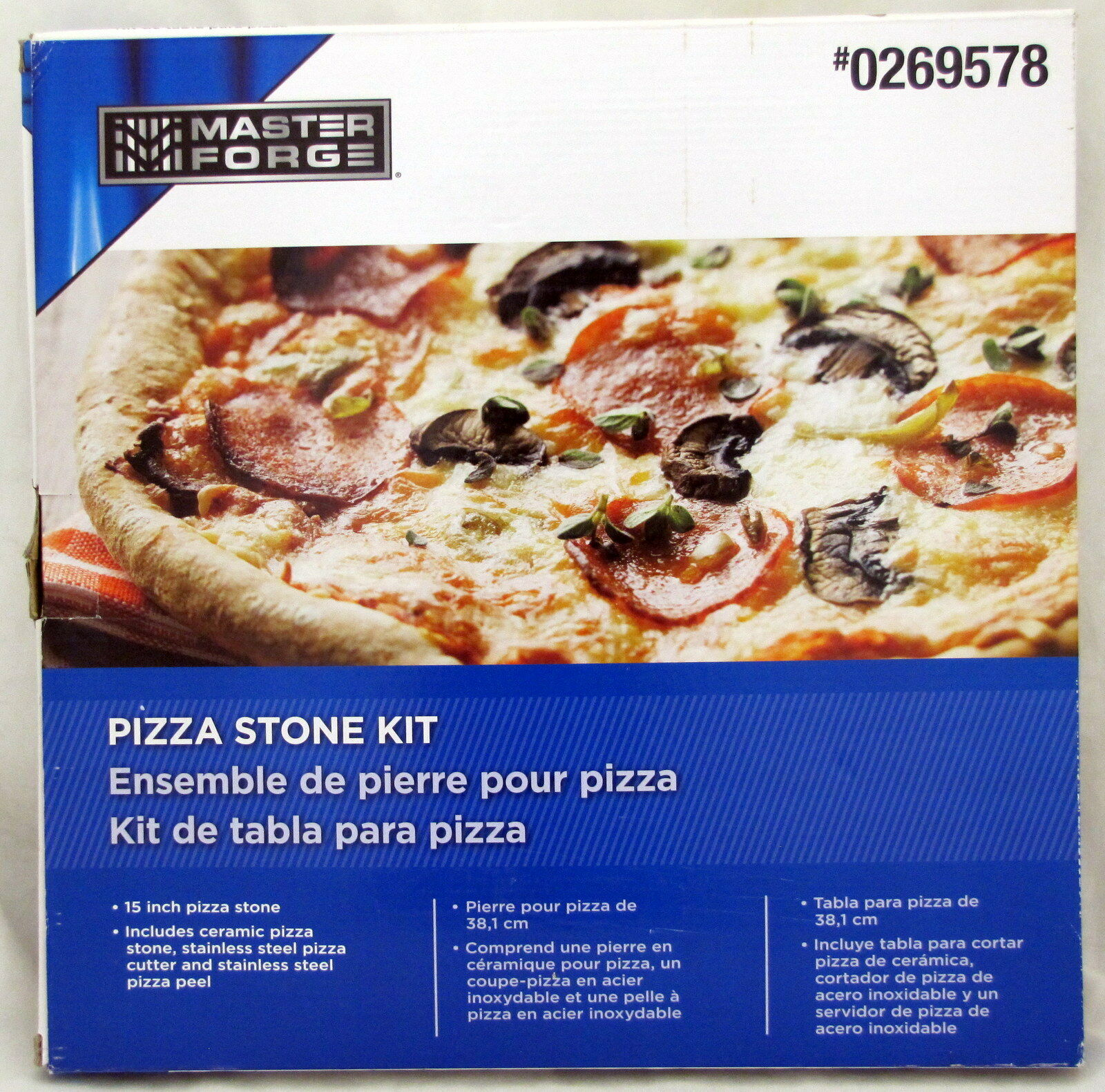 Master Forge Pizza Ceramic Stone Kit 15 Inch Cutter Peel BBQ