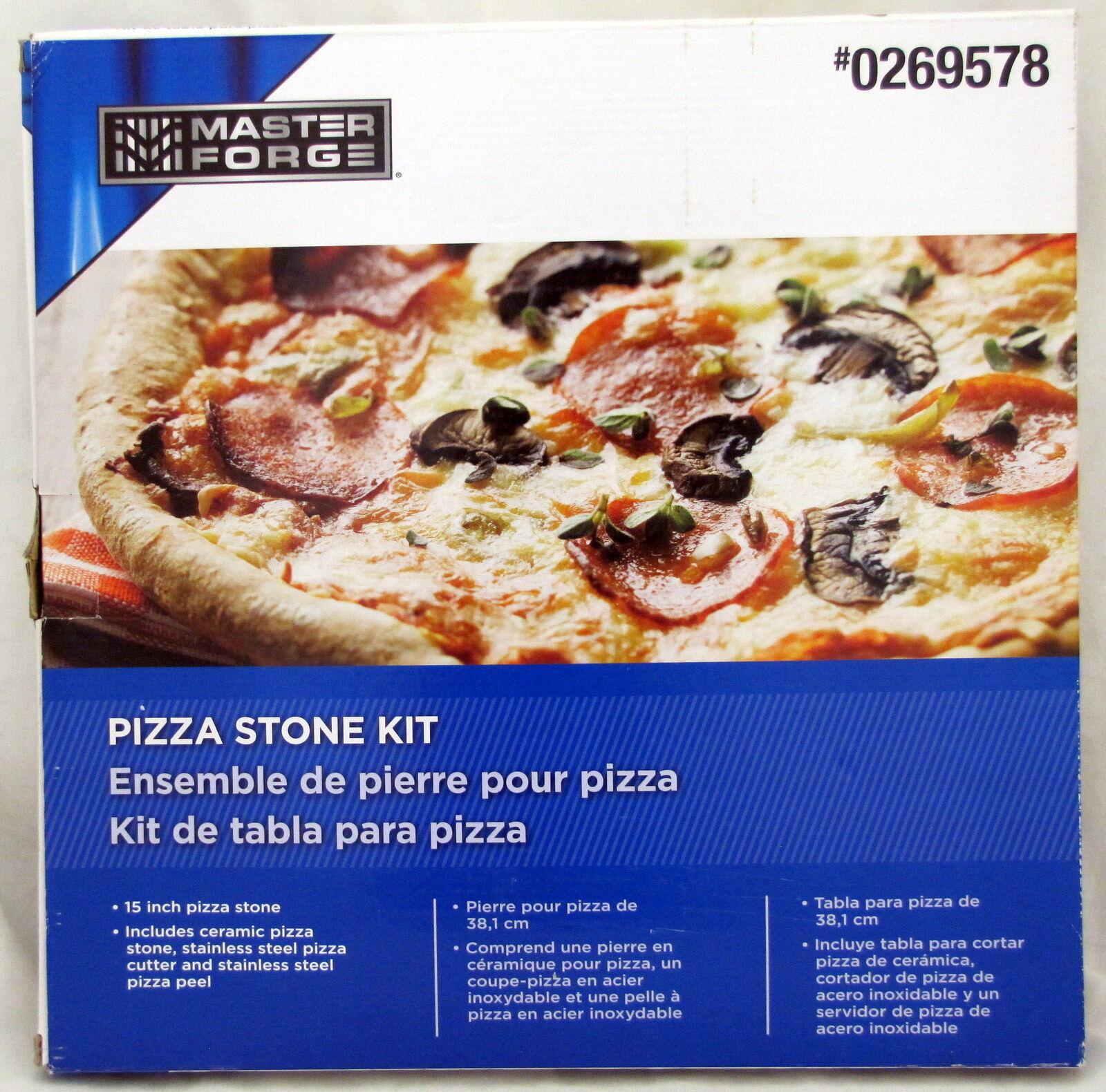 Master Forge Pizza Ceramic Stone Kit 15 Inch Cutter Peel BBQ