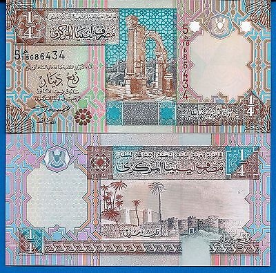 Libya P 62 1 4 Dinar Year Nd 2002 Uncirculated Banknote Africa