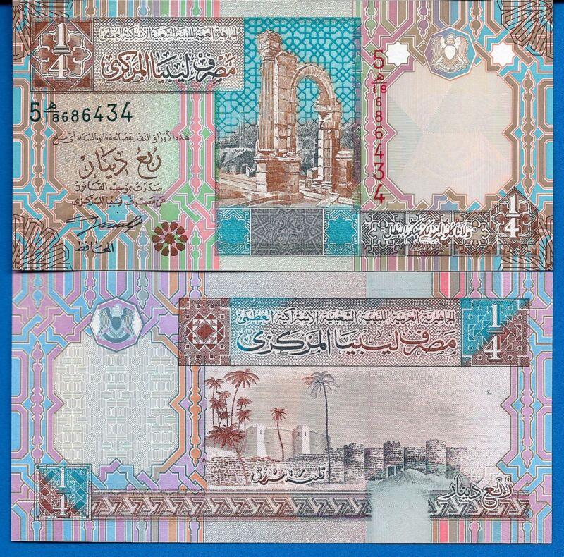 Libya P-62 1/4 Dinar Year ND 2002 Uncirculated Banknote Africa