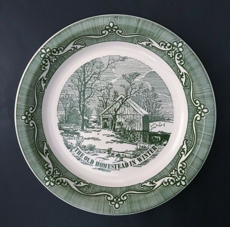 Vtg Currier And Ives The Old Homestead In Winter Pie Pan Plate Dish Green White