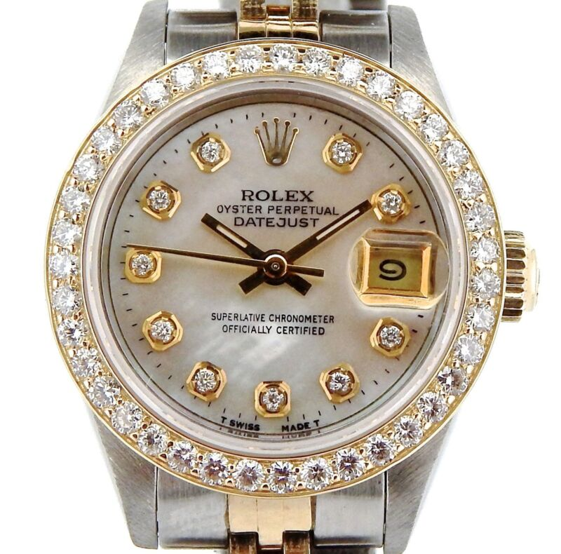 Rolex Datejust Lady 2tone 18k Gold Steel Watch Mop Diamond Dial 1ct Bezel 69173