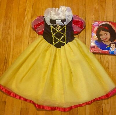 Original Disney Store Snow White Girl Halloween Costume Size XS 4-5 + Bonus Wig
