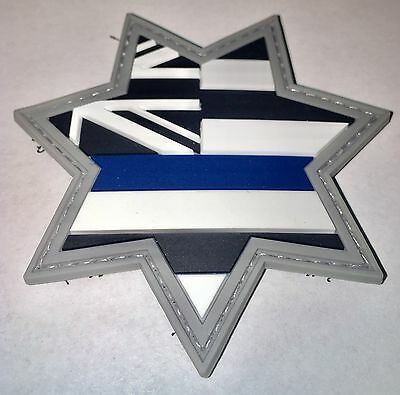 Thin Blue Line Morale PVC Patch Sheriff Hawaii State Flag Seven Point Star/Badge