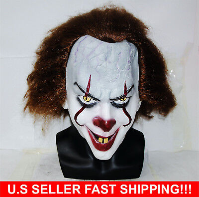 Stephen King's  Mask Pennywise Clown Mask Halloween Cosplay Costume U.S Seller](Pennywise Halloween Costume)