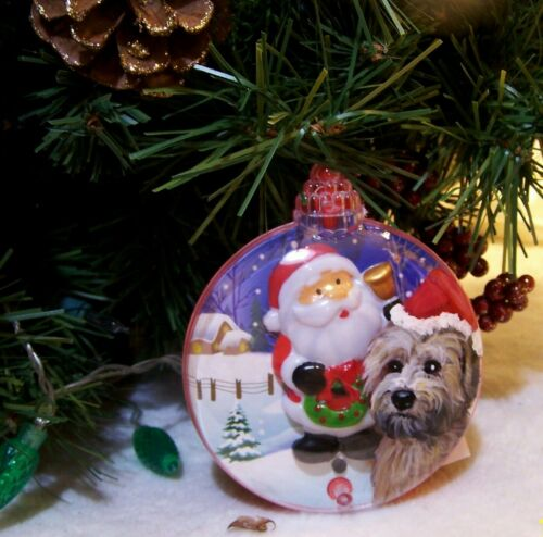 hand painted Yorkie  medium musical light up Christmas  Ornament