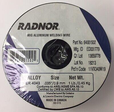 Radnor Er4043 .035 0.9mm Mig Aluminum Wire Spool 1lb Welding Supply Equipment