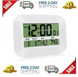 HeQiao Silent Desk Clocks,  Digital Wall Clock Battery Operated Simple- NEW