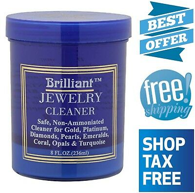 Jewelry Cleaner w/ Cleaning Basket and Brush 8 Oz Non-Toxic for Gold Platinum