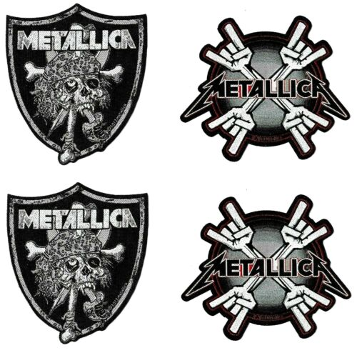 Metallica Raider Skull + Metal Horn Coffin Patch [Set of 4] Die-Cut Patches