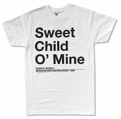 GUNS N ROSES SWEET CHILD O' MINE WHITE T SHIRT NEW OFFICIAL ADULT
