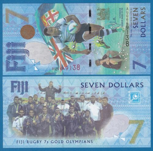 FIJI 7 Dollars P 120 2016 UNC Commemorative Rugby Gold Olympians (2017) Low Ship