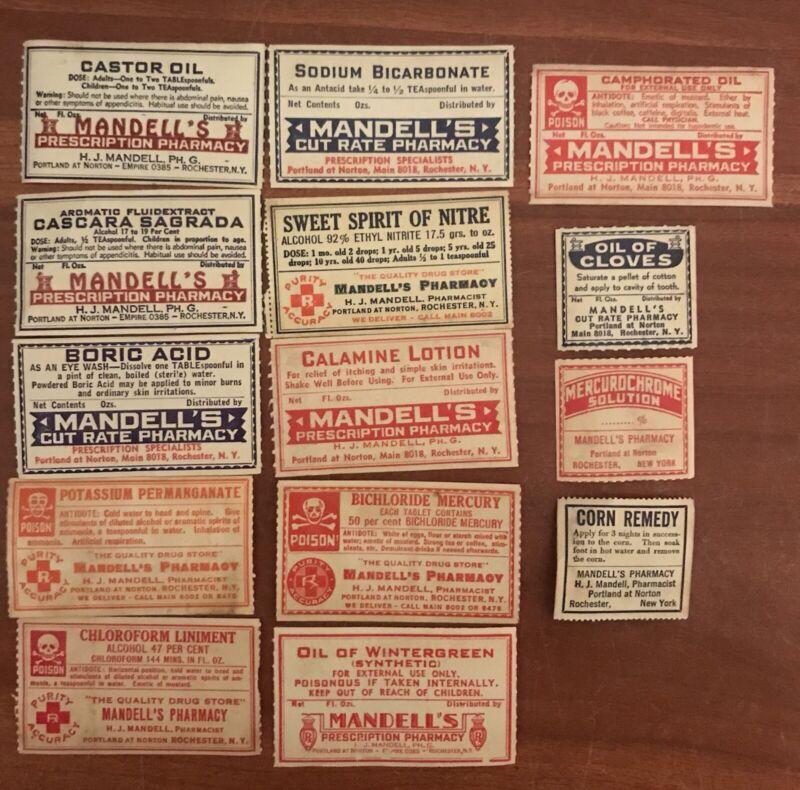 14 Assorted Vintage Drug Labels Mandell's Pharmacy Rochester NY