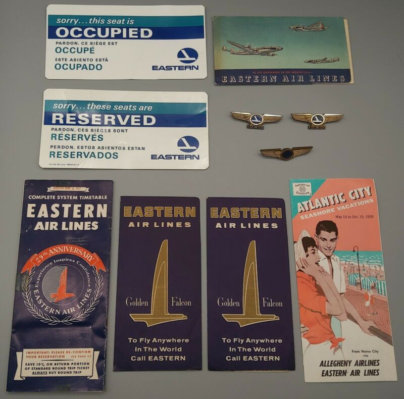 Vintage Eastern Air Lines Tickets, Brochure, Timetable, Reserved Cards, Pins