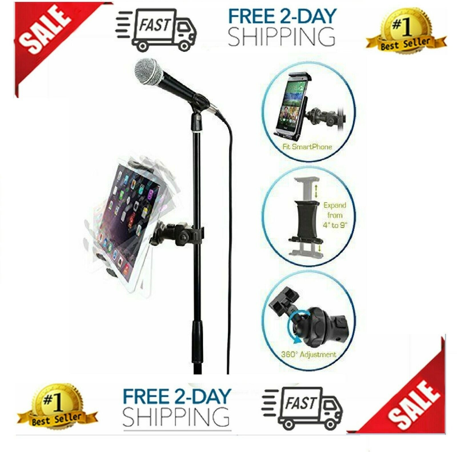 IPad Universal Tablet Mount Clamp To Mic Mike Music Stand Mi