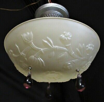 """Vtg  Frosted GLASS CEILING LIGHT FIXTURE SHADE With 3 Chain Mount Candlewick 10/"""""""