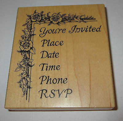 You're Invited Rubber Stamp PSX Place Date Time Phone RSVP Roses Flower - Border Holiday Holiday Invitations