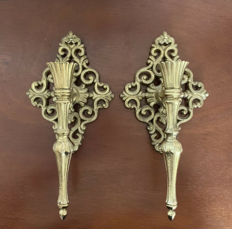 2 Set Vintage Gold Ornate Metal Art Wall Hanging Candlestick Holder Sconce Homco