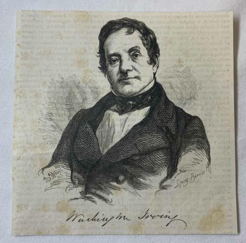 1851 magazine engraving ~ WASHINGTON IRVING