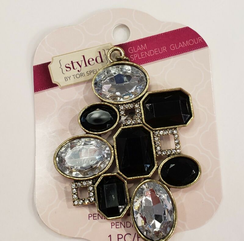 Tori Spelling Necklace Pendant-DIY Glam Clear and Black Geometric