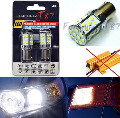 Hyper Flash Free LED Light 1156 White Two Bulbs Front Turn Signal Lamp Upgrade