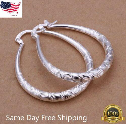 Women's 925 Sterling Silver Oval Etched Hoop Pierced 1-1.5 Inch Earrings