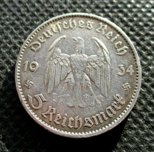 BIG OLD SILVER 5 REICHSMARK COIN THIRD REICH GERMANY SWASTIKA 1934 A BERLIN - 4