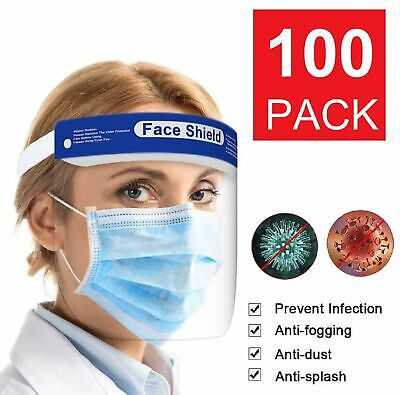 100 Pack Safety Full Face Shield Reusable Clear Washable Face Anti-Splash Clothing, Shoes & Accessories