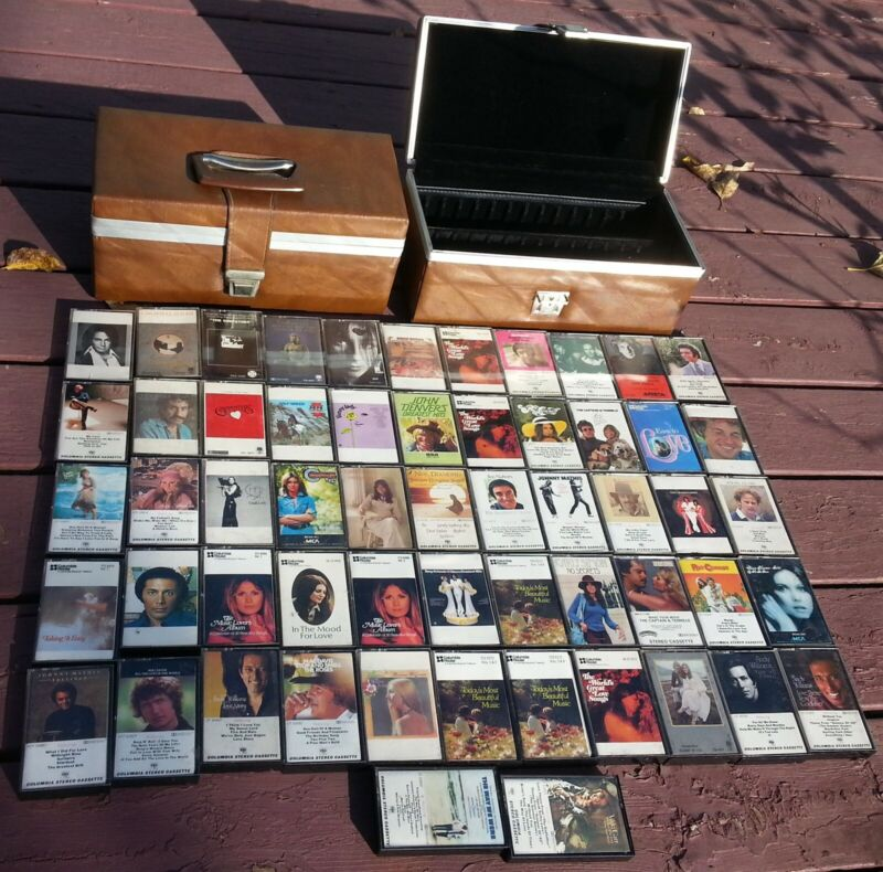 55 x Columbia House Record Club Cassette Tapes 70s Easy Listening + 2 Hard Cases