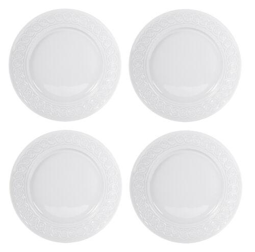 BERNARDAUD LOUVRE WHITE SET OF 4 DINNER PLATES #0542-13 BRAND NEW SAVE$$ F/SH