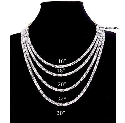 Mens Iced Out Single Row Silver Cz Chain 16  18  20  24  30 Necklace Hip Hop