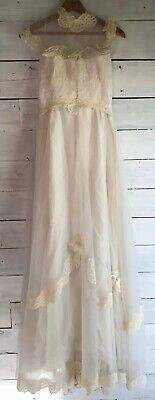 Vintage 1960s (?) Alfred Angelo/Edythe Vincent Wedding Dress Ivory Small