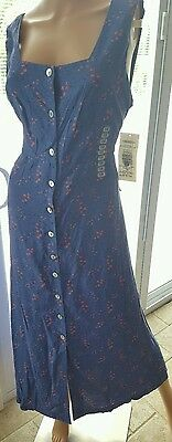 Robbie Bee Blue Floral Full Length Sleeveless Summer Dress Size 14 - Bee Floral