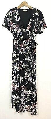 Altar'd State High-Low Maxi Dress Size Medium Black Floral Faux Wrap Tie Front  Front Wrap Altar