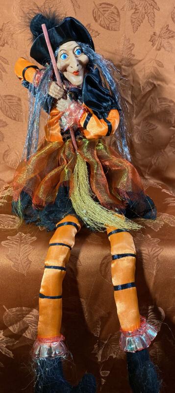 "Halloween 27"" WITCH DOLL W/BROOM Orange/Black SHELF SITTER"