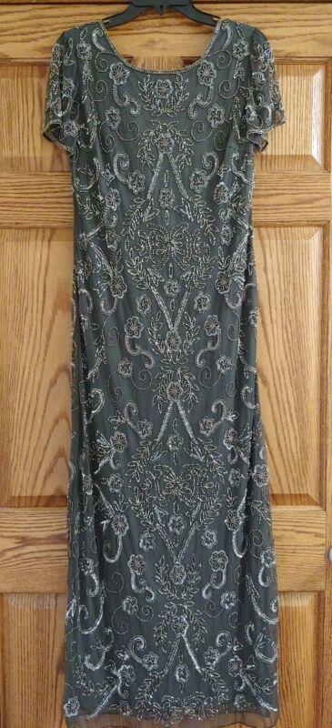Womens Dress Sz 8 PISARRO NIGHTS Maxi Long Formal Lined Beaded Rhinestone Gray