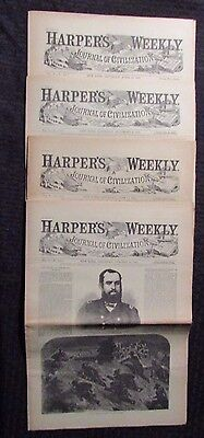 1861 Harper's Weekly Journal Newspaper Reissue LOT of 4 FN- 4/13 6/15 10/26 11/9