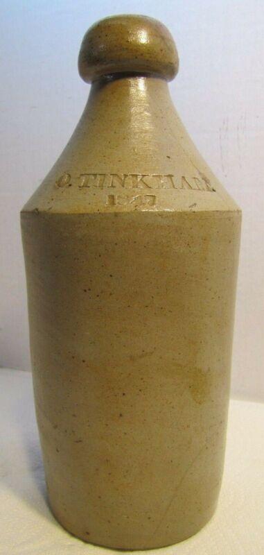Antique 1847 O TINKHAM Salt-Glazed Pottery Stoneware 19c Root Beer Bottle