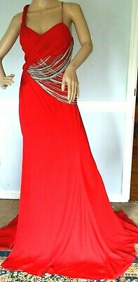 $5,975 VERSACE Chain Embellished Red Long Maxi Dress Evening Gown US 4 / IT 40